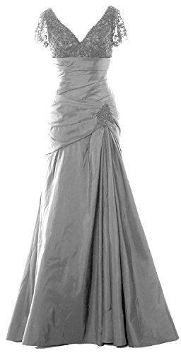 Sleeves Silber Mother Cap of V MACloth Dress Women Bride Gown Long Evening Lace Neck EOqRpxHA