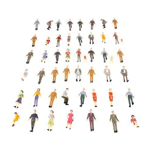 SODIAL(R) 50pcs G Scale 1:30 Mix Painted Model People Train Park Street Passenger Figures