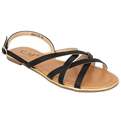 MCM Ladies Flat Sandals Womens Open Toe Buckle Strap Shoes Summer Fashion Party New Black - 839715 eG9xSAvD3