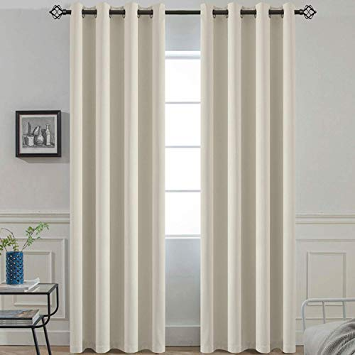 Yakamok Soft and Smooth Blackout Curtains Thermal Insulated Light Reducing Drapes for Living Room, 2 tie Backs Included (52Wx96L, Light Beige, 2 Panels) (Light Blocking Curtains Beige)