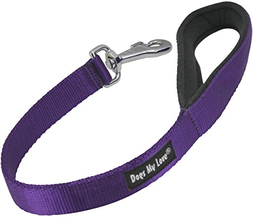Short Dog Leash Padded Handle Wide Nylon Traffic Lead 22″ Long Purple