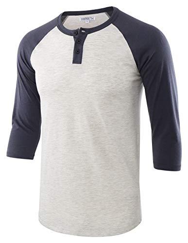 HARBETH Men's Casual Fashion 3/4 Raglan Sleeve Active Baseball Henley Tee Shirt H.Oatmeal/C.Blue XL