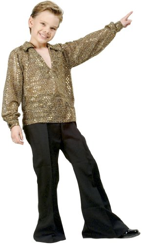 Boys Disco Fever Gold Kids Costume size Medium 8-10 by RG Costumes - Gold 70s Dress