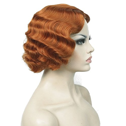 Lydell Vintage Cosplay Party Wig Short Finger Wavy Flapper Hairpiece #130A Copper (Red Flapper Wig)