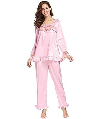 Dickin Women's Long Sleeve Sleepwear Silk Stain Top Pajama Set with Pants S-XL