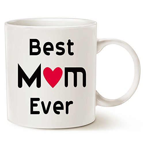 Christmas Gifts Best Mom Coffee Mug - Best Mom Ever - Unique Christmas or Birthday Gifts Idea for Mom Mother Mama Mommy Porcelain Cup White, 14 Oz by LaTazas