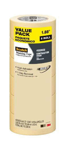 Scotch Painter's Tape 051141949659 Scotch Contractor Grade Masking Tape, 2020CG-48-CP, 1.88-Inch by 60.1-Yards, 6 Rolls, 1.88 inch x 60.1 yards, Kkk