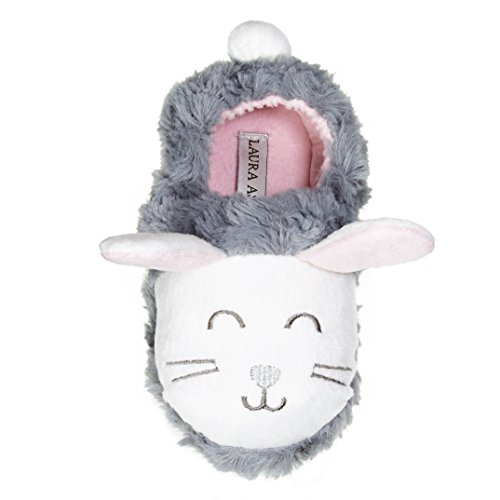 Laura Ashley Toddler Girls Bunny Faux Fur Aline Clog Slippers Grey/White Size9/10 -