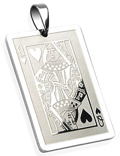 Amazon queen of hearts playing card necklace pendant woman queen of hearts playing card necklace pendant mozeypictures Images