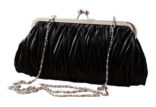 (Black) Women Vintage Satin Pleated Evening Cocktail Wedding Party Handbag Clutch Purse w/Shoulder Chain by Zakka Republic (CLT-02-B)