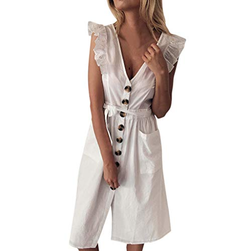 Ximandi Summer Cute Women Daily Shirred Frill Sleeves Loose V Neck Button Lace Up Pocket Maxi Dress