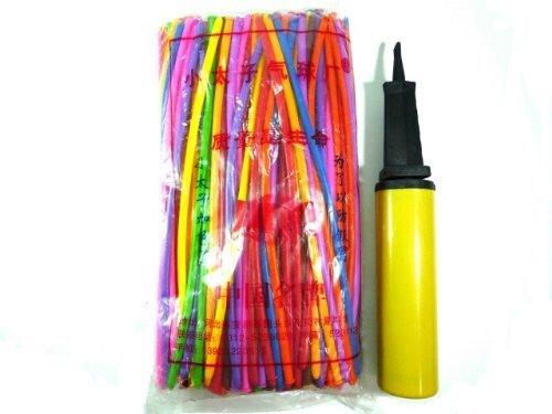 Pencil balloon (200 pieces) with hand pump (japan import) im @ pe