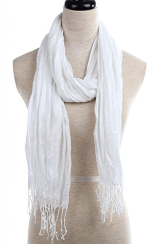 METERDE Fashion Breathable Tassel Trim Crinkle Cotton Scarf Wrap White - Linen Scarf Prints Cotton
