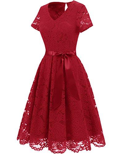 DRESSTELLS Women's Elegant Bridesmaid Dress Floral Lace Dresses with Short Sleeves DarkRed 3XL