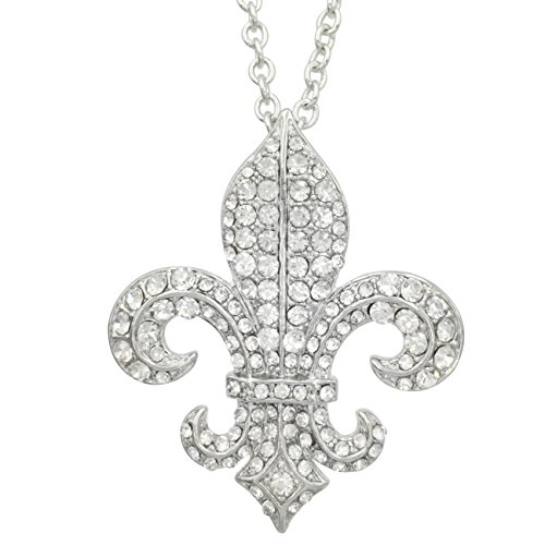 Fleur De Lis Gold Necklace (Fleur De Lis with Rhinestones on Chain Necklace (Classic Clear Silver Tone))