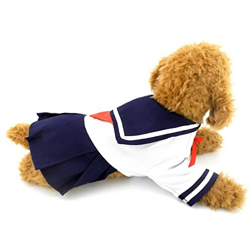 SELMAI Navy Sailor Captain Costume Dog Dresses Fresh Style Student Uniform L,for Small Dog Cat Puppy (Mascot Uniforms)