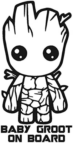 Baby Groot On Board 6 Tall Color Black Decal Laptop Tablet Skateboard car Windows Stickers