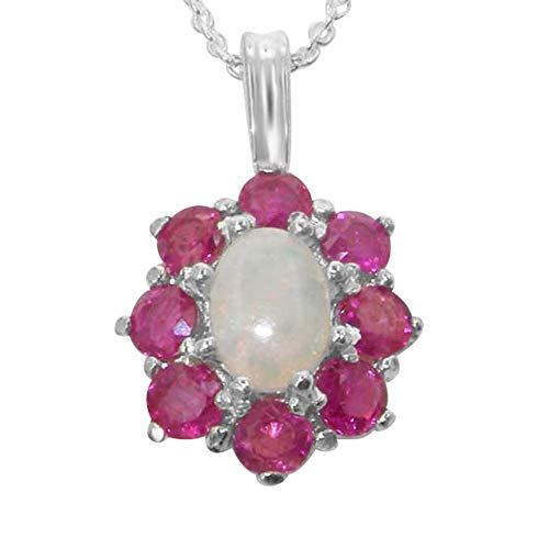 Ladies Solid 925 Sterling Silver Ornate Large Natural Fiery Opal and Ruby Cluster Pendant Necklace