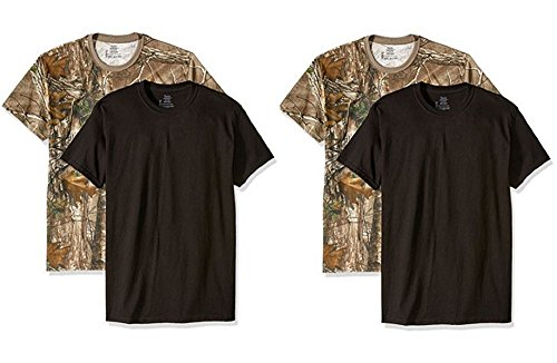 Hanes Men's ComfortSoft T-Shirt (Pack of 4),2 Black-2 Realtree,XLarge by Hanes