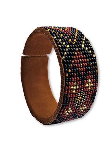 Mayan Arts Beaded Cuff Bracelet, Brown,Earth Tones, Suede,Shabby Chic, Boho Look, Cowgirl Jewelry, Handmade in Guatemala ()