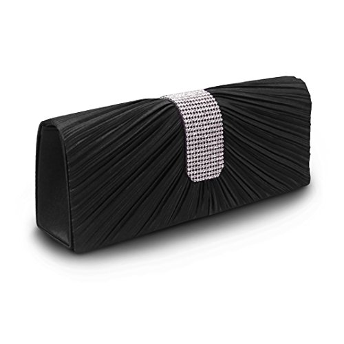 Fashion Purse Clutch Bag Ladies' Women's Wedding Bridal Bag Handbag Black Pleated wq1w5SO