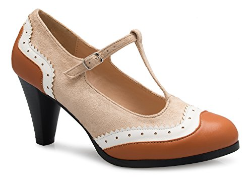 (OLIVIA K Womens Mary Jane Pumps - Low Heels - Two Color Vintage Retro Round Toe Shoe Beige Tan)