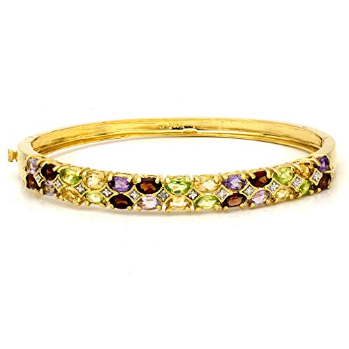 llow Gold Plated Sterling Silver GARNET, AMETHYST, PERIDOT, CITRINE & DIAMOND Bangle Bracelet (4.00 Carats Total) ()