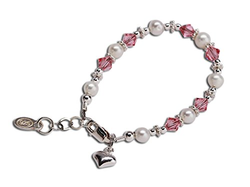 (Children's Sterling Silver Cultured Pearl Bracelet with Pink Swarovski Crystals and Heart)