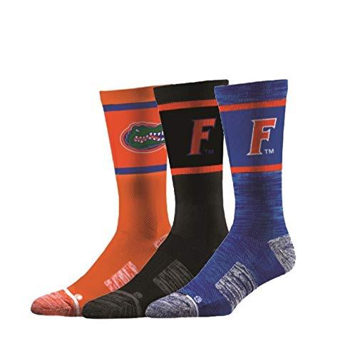 Elite Fan Shop Florida Gators Socks 3-Pack - Mens (8-12) - Blue (Fan Socks)