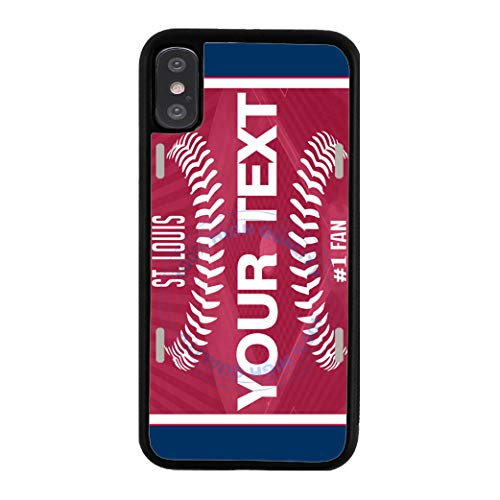 (BRGiftShop Customize Your Own Baseball Team St. Louis Rubber Phone Case for Apple iPhone X Ten)
