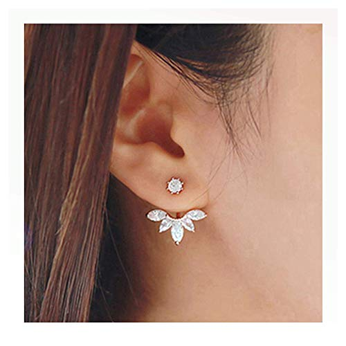 Elensan Rose Gold Leaf with Cz Crystal Ear Cuff Jacket Front Back Stud Earring for Woman Girls(Two Pairs) (Rose Gold Leaf B)