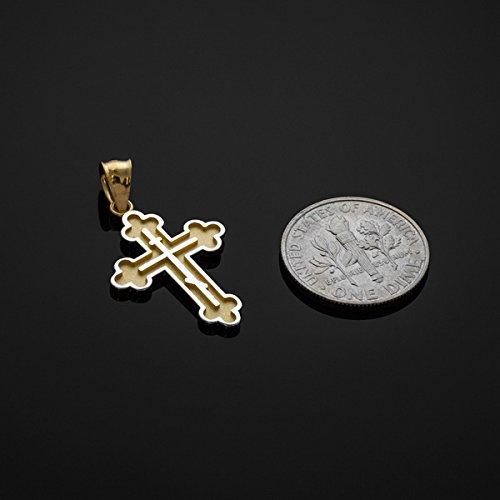 Petits Merveilles D'amour - 10 ct 471/1000 Deux-Tons Or Orthodoxe Russe Croix- Pendentif
