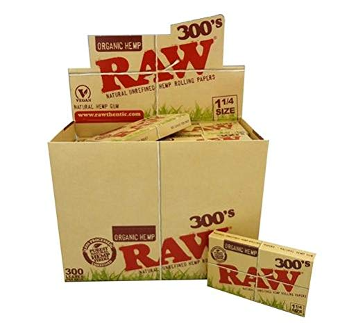 Raw 300 Organic 1.25 1 1/4 Size Rolling Papers 5 Pack = 1500 Leaves by Raw (Image #2)