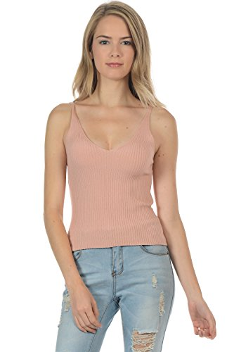 Sol & Cielo Domestic(USA) Stretchable Sleeveless Ribbed Knit Crop Top (Small, Blush)
