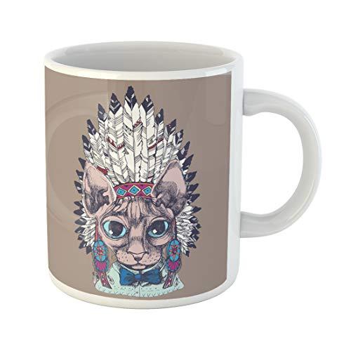 Semtomn Funny Coffee Mug Hipster Sfinks Cat Portrait Native American Indian Chief Headdress 11 Oz Ceramic Coffee Mugs Tea Cup Best Gift Or Souvenir -