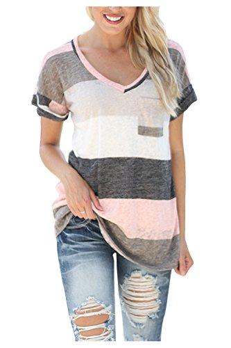 Kumer Women's V-neck Striped Casual Short Sleeve T-shirt Blouse Tees (Striped Slub V-neck Top)