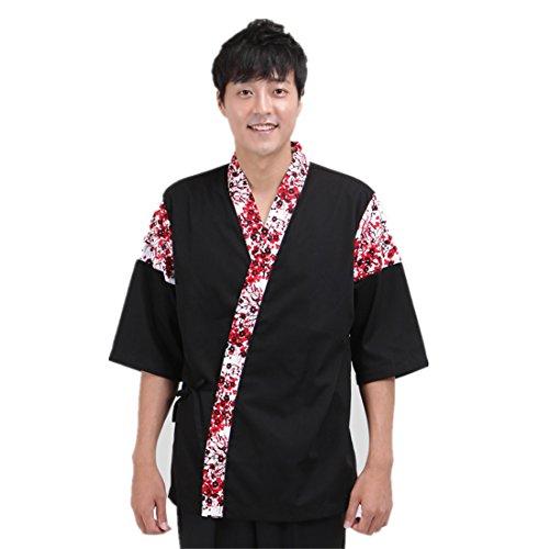 Mens Japanese black flower pattern sushi chef coat - Camo Chef Coat