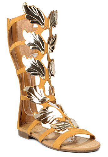 [Forever Kesha72 Tan Golden Wing Faux Nubuck Gladiator Roman Mid Calf Sandal Shoes-8.5] (Golden Wings For Women)