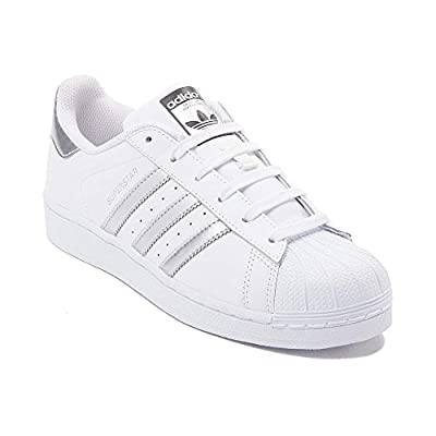 adidas Originals Women's Superstar W Fashion Sneaker (Womens 6.5, White/Silver/White)