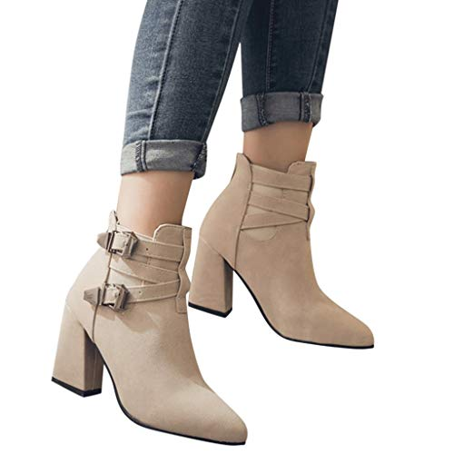 Women Ankle Boots Fashion Warm Metal Super High Thick Heel Short Boots Point Toe Shoes -