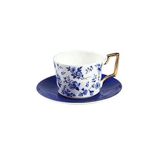 MLMHLMR Bone China Coffee Cup Set Blue Danube Coffee Maker Coffee Cup Afternoon Tea Set Red Tea Cup Coffee set (Size : A)