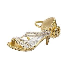 Lucky Top Girls F 32K Little Girls Rhinestone Heel Platform Dress Sandals (10, Light Gold)