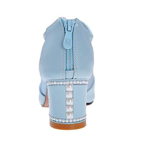 Amoonyfashion Donna Morbido Materiale Cerniera Open Toe Kitten Tacchi Sandali Solidi Azzurri