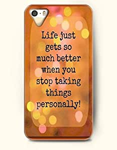 OOFIT Stylish Life Is Just Gets So Much Better When You Stop Talking Things Personally Pattern Case for iPhone 4 4S -- Life Quotes Series