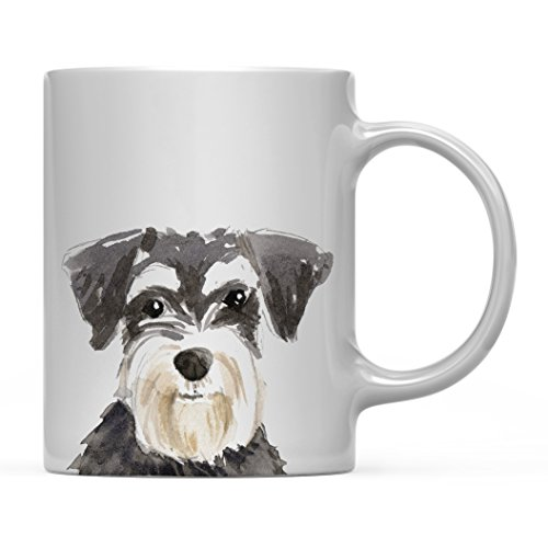(Andaz Press 11oz. Dog Coffee Mug Gift, Miniature Schnauzer Up Close, 1-Pack, Pet Animal Lover Birthday Christmas Gift for Her Family)