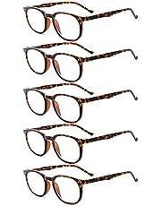 Eyekepper 5-Pack Spring Hinges 80'S Classic Reading Glasses Amber