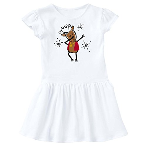 inktastic - Dabbing Dancer Reindeer Toddler Dress 4T White 2dde0 ()
