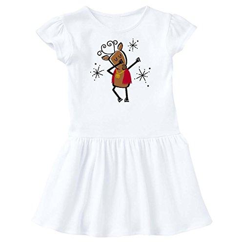 inktastic - Dabbing Dancer Reindeer Toddler Dress 5/6 White 2dde0 ()