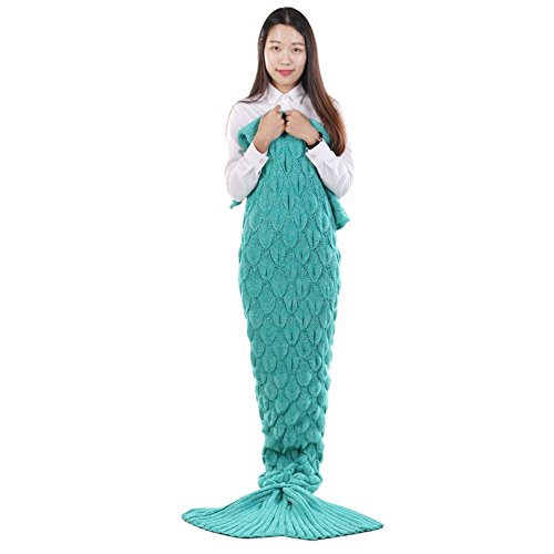 Senmar Warm and Soft All Seasons Mermaid Blanket Sofa Quilt Living room blanket ,Sleeping Bag and Camping Bag (78″x 35″) (Light Blue) (Turquoise Color-Scales)