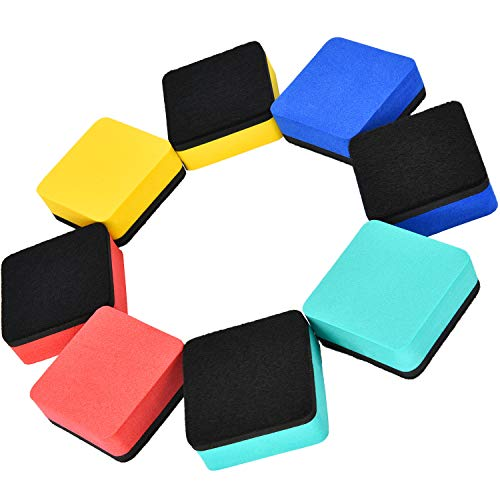 Blulu 48 Pieces Mini Magnetic Whiteboard Erasers Dry Erase Erasers Chalkboard Erasers for Home Classroom Office Use (Mixed Colors, 1.97 x 1.97 Inches) by Blulu (Image #3)